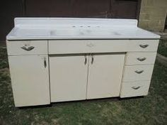 Metal Kitchen Cabinet And Porcelain Sink For Sale