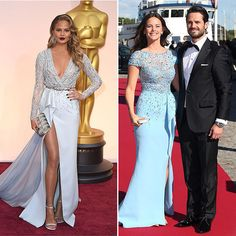 Chrissy Teigen and Princess Sofia of Sweden  It's no coincidence that the Swedish royal's powder-blue gown looks eerily similar to Chrissy's Oscars ensemble in 2015 - they were both created by master designer Zuhair Murad. The Sports Illustrated model opted for a sexier look complete with plunging neckline and high slit, while Sofia embraced a more modest silhouette to attend a pre-wedding dinner with her now-husband Prince Carl Philip.