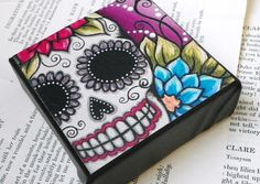 Day Of The Dead sugar skull CANVAS MOUNTED by mycreativebliss, $15.00