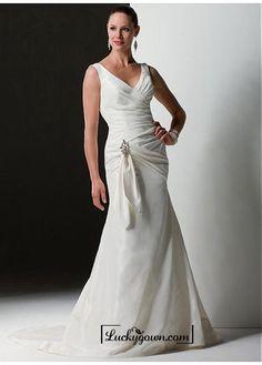 Buy Beautiful Elegant Exquisite Taffeta Mermaid V-neck Wedding Dress In Great Handwork Online Dress Store At LuckyGown.com