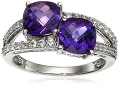 Sterling Silver Checkerboard Cushion Shape Amethyst with Round Created White Sapphire Fashion Ring, Size 8. Made in India.