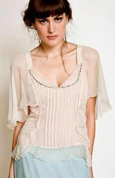 So cute...where am I wearing this? The library?.....T-234 Crystal Vintage Top Peach