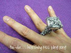 hershey kiss bling ring...I saw this on pinterest before, but could never find the tutorial.  Finally, here it is.