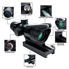 Trijicon ACOG 4x32 Fiber Source Hunting Riflescope Green Illuminated Optical Fiber Rifle scope (Color: Black) Boy Toys, Toys For Boys, Vision Glasses, Sources Of Fiber, Sci Fi Weapons, Rifle Scope, Light Sensor, Fiber Optic, Firearms