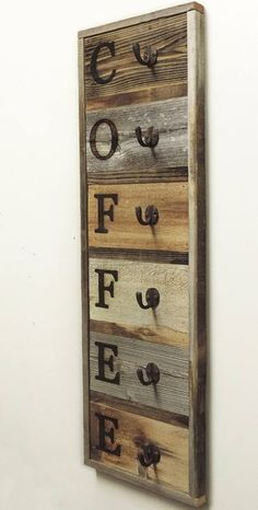 Vertical Barnwood Coffee Mug Rack Wall-Mount Coffee Cup Holder