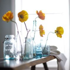 Setting the Summer mood at our shoot with brilliant yellow poppy flowers + vintage glass vessels. #floralfridays #behindthescenes #poppiesofinstagram