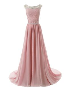 Dressystar Herzform Chiffon Lange Brautjungfernkleid Perlen Ballkleid Blush in Größe 32