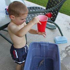 Backyard Water Play for Preschoolers and super great ideas on the site all for moms with boys