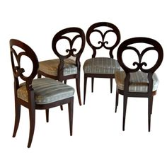 Set of Four Biedermeier Side Chairs by Josef Danhauser | From a unique collection of antique and modern side chairs at http://www.1stdibs.com/furniture/seating/side-chairs/