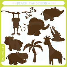 Baby Animals Silhouettes - cute animals, lion, giraffe, fox, tiger, baby, jungle, premade logo- Personal and Commercial Use Clip Art