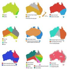 The most important maps of australia its cool to see all the information laid out on the same map and such basic colors to represent the information