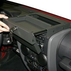 Tuffy Flip-N-Lock Stereo Cover & Tray Dark Slate 2007-2010 Jeep Wrangler JK & Wrangler Unlimited JK # 160-08
