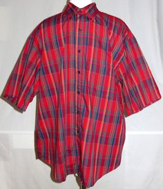 Mens Plaid Pendleton Country Traditionals Short Sleeve Shirt XL Red Blue Green #Pendleton #ButtonFront