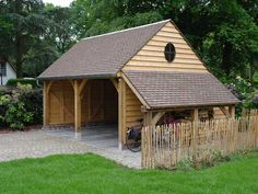 This wooden carport can become a perfect wooden garage for you.