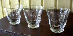3 Mid Century Starburst Cocktail Glasses Eames Atomic Vintage Etched Rocks EUC