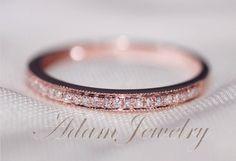 MILGRAIN 14k Rose Gold Wedding One Day Shipping by AdamJewelry, $180.00
