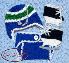 Newborn Vancouver Canucks Hockey Helmet Hat  Diaper by Grandmabilt, $45.00