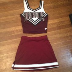 SALE Vintage Cheerleading Uniform Cheerleading Uniform Halloween... ($20) ❤ liked on Polyvore featuring costumes, vintage costumes, red costume, vintage halloween costumes, cheerleader halloween costume and cheerleader costume