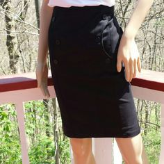 EMPORIO ARMANI Rockabilly Button Trimmed Skirt Who said you have to forsake chic fashion in order to perpetrate retro flair? This fabulous skirt combines creative genius w/touches of nostalgia to produce something altogether & authentically unique. This is an incredible find for subtle, vintage styling both at work as well as your local pub. * 97% cotton/3% rubber; * Black; * Circular pockets on front @ hips; * 3 button trim @ pockets, each embossed w/design house name; * Circular waistband…