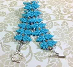 Turquoise Beaded Bracelet Super Duo Beaded by JewelryCharmers