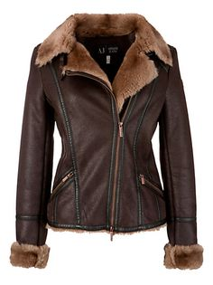 Buy Armani Jeans Shearling Aviator Jacket, Chocolate online at JohnLewis.com