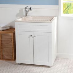 Laundry Vanity In Black And Abs Sink White Faucet Kit
