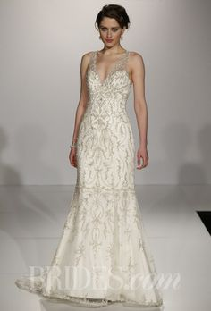 """""""Blakely"""" beaded sheath with plunging neckline and illusion straps, Maggie Sottero"""