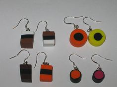 Liquorice Allsort Earrings available at www.facebook.com/RetroBling