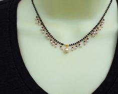 Jewelry OFF! Mangalsutra with Tiny Pearls Black Beads Chain Wedding Jewelry Indian Jewellery Gift for Her Pe Bead Jewellery, Gemstone Jewelry, Beaded Jewelry, Silver Jewelry, Silver Ring, India Jewelry, Diamond Jewelry, Beaded Necklace Patterns, High Jewelry