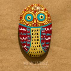 Painted Owl Stone Painted Owl Rock Gold Red by WildfoxStudios
