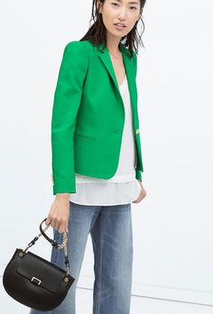 Zara Doublecloth Blazer in bright green
