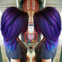Multi tone purple and some bright teal removed the splat color she had in her…