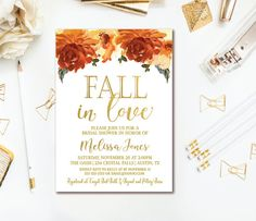 41 best bridal shower invitations images on pinterest in 2018 fall in love bridal shower invitation fall floral bridal shower invitation orange gold filmwisefo