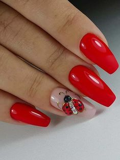 If you are seeking the latest trends of red nail art designs to show off right now then you are really at the right place. See here and find some of the best choices of red nail images and designs that we have especially posted for you to try in year Red Nail Designs, Beautiful Nail Designs, Red Nail Art, Red Nails, Cute Nails, Pretty Nails, Ladybug Nails, Manicure, Nagel Gel