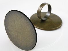 30x40mm 5pcs Bronze Color Plated Brass Oval Adjustable Ring Settings Blank/Base,Fit 30x40mm Glass Cabochons K6-18