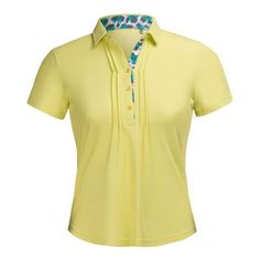 Short Sleeve Polo, Amazing collar ! 5 button placket with animal print .   NIVO's LUSH collection is inspired by the tropics. This is a statement palette of amplified acid yellow and veridian green anchored by crisp white and charcoal. Modern animal prints and jacquards are key elements in this vibrant color story