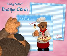 Charming Dinky Bears Pasta Recipe Cards - Digital Download by DinkyPrints