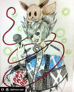 Some great visual kei fanart from Instagram - Aki (from Arlequin) and Eevee for the win! #accuvisualkei