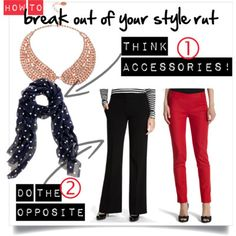 Stuck in a style rut? How to break out of your fashion comfort zone. #workmom #momstyle http://www.closet-coach.com/2012/09/18/how-to-break-out-of-your-fashion-comfort-zone/