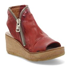 Best Sellers - Women's - A.S.98 USA Red Wedge Sandals, Platform Wedge Sandals, Red Block Heels, Comfortable Wedges, Women's Mules, Womens Summer Shoes, Online Fashion Stores, Strappy Heels, Leather