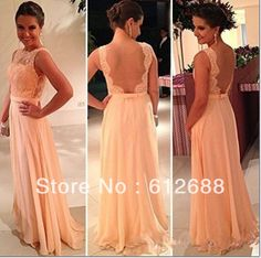 2014 New Arrival Tank A-line Light Champagne Empire Appliques Low Back Pleat Lace Floor Length Prom Dresses $119.00