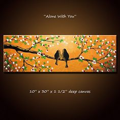 "Lovebirds Painting Original Art Large Modern Trees Birds Love ... 10 x 30 .. ""Alone With You"", Christmas or wedding gift -- Check this awesome product by going to the link at the image."