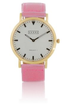 Shore Projects gold-plated, grosgrain and leather watch