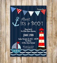 Invitación de la ducha de bebé náutica marina por LavenderArte
