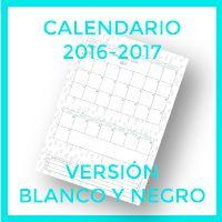 Calendario 2016-2017 versión en blanco y negro para colorear uno mismo.