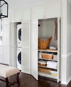 Laundry room: Doors to hide the washer, dryer, and baskets