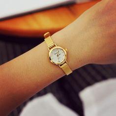 Fashion Quartz Watch Women Golden Gold Small Dial Bracelet Wristwatches Ladies Watches WW-09070 (Color: Gold) = 1956806980