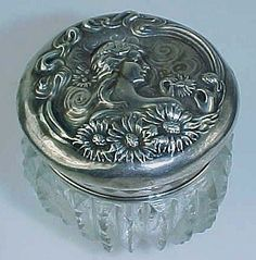 "Unger...Sterling Silver, Art Nouveau Dresser Jar...""Woman with Flowing Hair & Mums"""