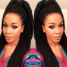 Twists are a top favorite this season! Versatile Senegalese twist styles allow you to craft innovative hairdos. Check out these fabulous Senegalese twist styles Box Braids Hairstyles, Braids Wig, Loose Hairstyles, Braid Hair, Top Braid, Long Hairstyle, Beautiful Hairstyles, Hair Twists, Hairstyles 2016