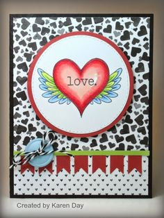 Handmade Valentine card by Karen Day using the Wings of Love set from Verve.  #vervestamps